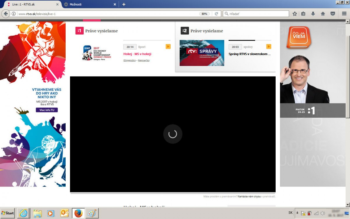 d62bee2ec7 Vrátime sa na záložku webu RTVS a klikneme znova na online prenos hokeja.  Video sa môže načítavať aj minútu